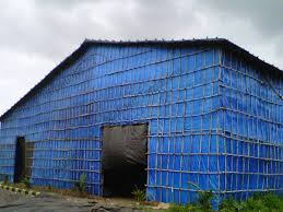 Temporary tarpaulins sheds